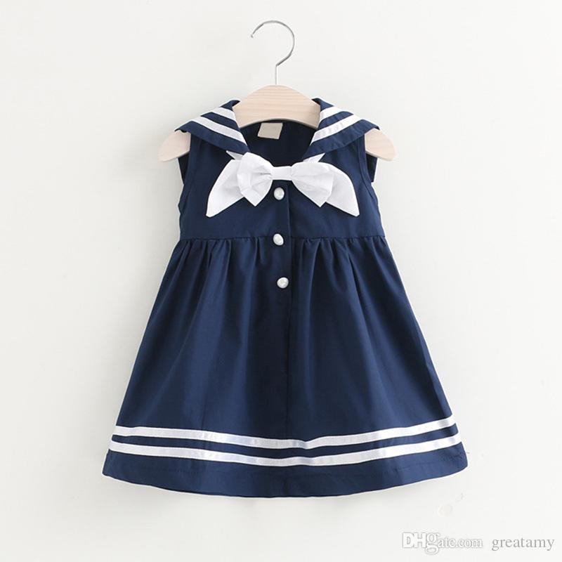 اعتصامات حار بيع الأطفال البحرية تنورة طفل الفتيات لطيف الصيف اللباس مع القوس التعادل الأطفال محلات الملابس أعلى جودة
