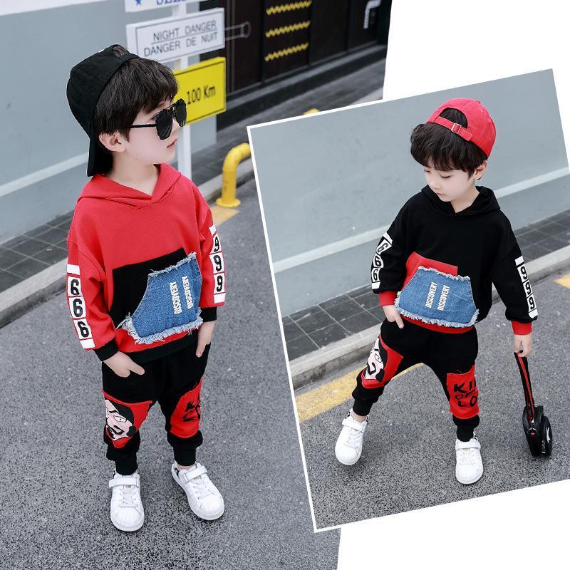 roupas menino primavera terno 2019 Nova Primavera e Outono versão coreana belos rapazes Primavera e no Outono de crianças