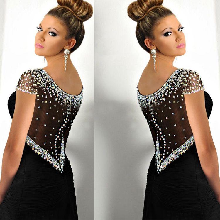 High Side Split Mermaid Evening Dresses Rhinestone Scoop Neck Formal Open Back Long Prom Party Gowns Custom Made Women Dress