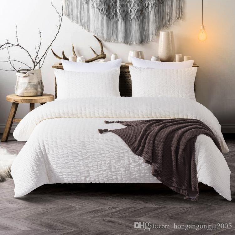 자카드 시어서커 이불 커버 침대 시트 베개 커버는 순면에게 세 가지 커버 침구 세트 능 직물 이불 미국의 여왕 왕 용품을 설정합니다