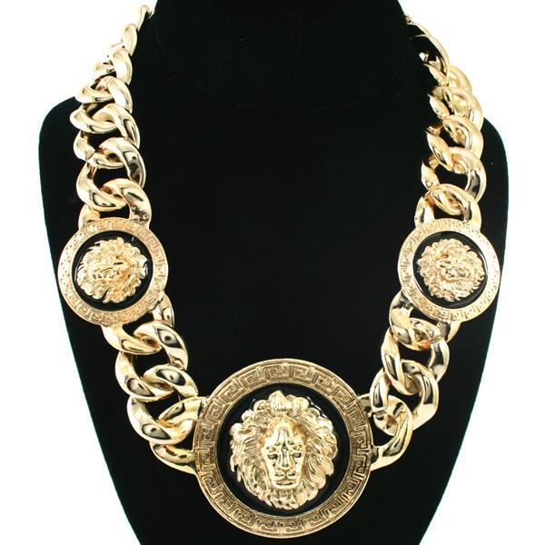 Moda marea uomo in acciaio inox grande marchio Medusa collana 18k oro hip hop cane tag collana pendente collana gioielli famoso design del prodotto