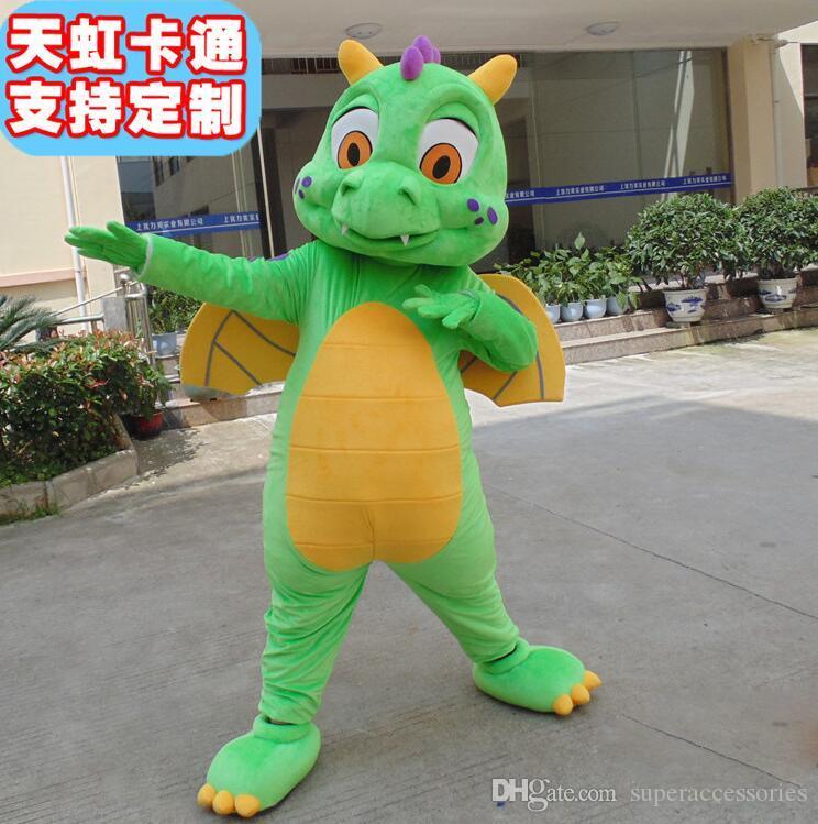 Il costume verde della mascotte del drago per gli adulti costumi di carnevale del vestito da vendita dei costumi di vendita caldi costumes il trasporto libero del vestito operato