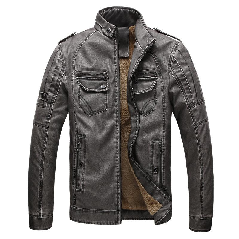 Men's Leather Jacket European and American Men's Plus Velvet Warm Leather Jacket Washed
