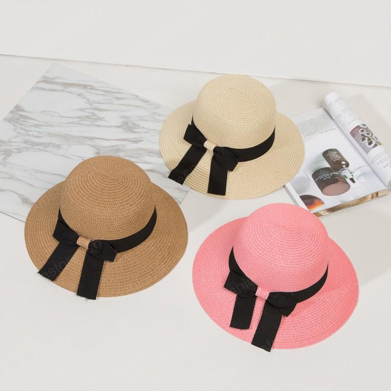 Женские ВС Hat Большой лук Широкий Брим Floppy летние шапки Женщины-Бич Панама Соломенная Bucket Hat Солнцезащитный козырек Femme Cap