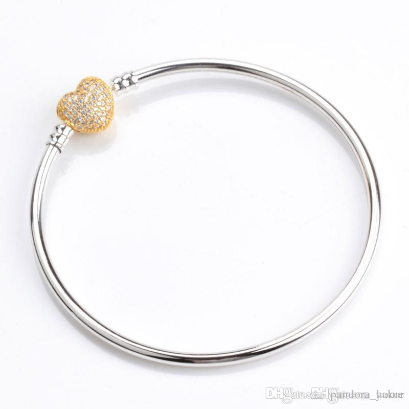 Juego de caja original plateada en oro amarillo de 18Q con brazalete de corazón para mujeres Pandora 925 pulseras de dijes de plata.