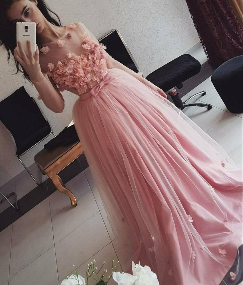 Wangyandress gioiello Sheer Neck una linea Prom Dresses illusione maniche lunghe 3D Fiori See Through partito di sera lunghi abiti formali con l'arco