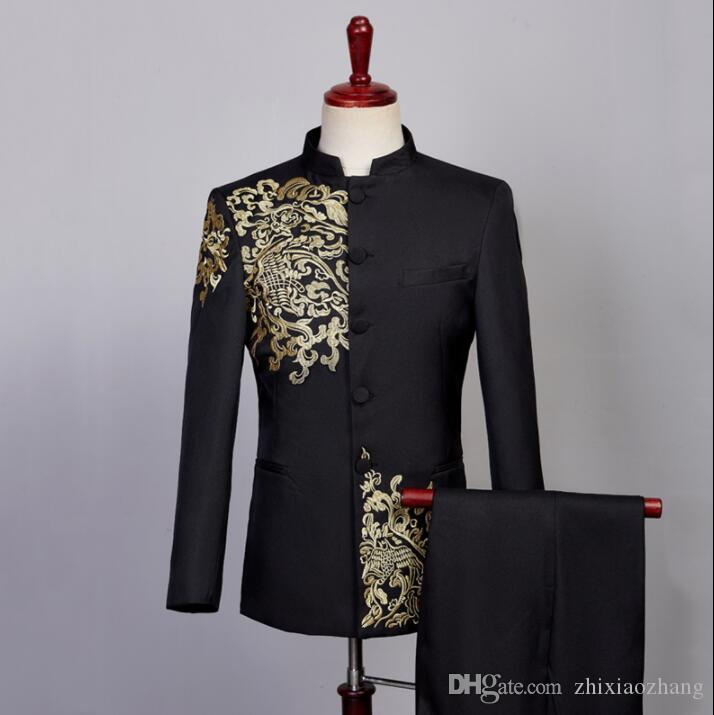 Blazer men embroidery Chinese tunic suit set with pants mens wedding suits costume singer star style stage clothing formal dress 5698413