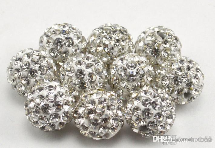 500pcs / lot 10mm meglio perdere cristallo misto della discoteca della CZ dell'argilla della sfera di cristallo collana di perline braccialetto perline nuovo stile strass e6734 G94