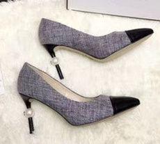 Sıcak Satış-Lüks Tasarımcı Kadın Tüvit Pompaları Inci Stiletto Yüksek Topuklu Terlik Klasik Bayan Gelin Düğün Ayakkabı Chaussures