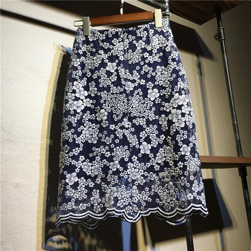 wholesale Crochet Lace Pencil Skirt Womens 2020 Summer Mini skirts Casual Floral Embroidery Wrap Mesh Skirt gonna tulle
