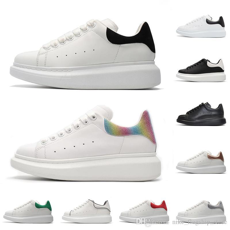 Lüks Tasarımcı rahat ayakkabılar erkek kadın moda platformu sneakers üçlü siyah beyaz 3 M yansıtıcı deri süet rahat düz boyutu 36-44