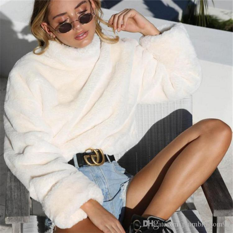Long Sleeve White Soft Plush Sweater Women Autumn Winter Thick Warm Faux Fur Pullover Tops