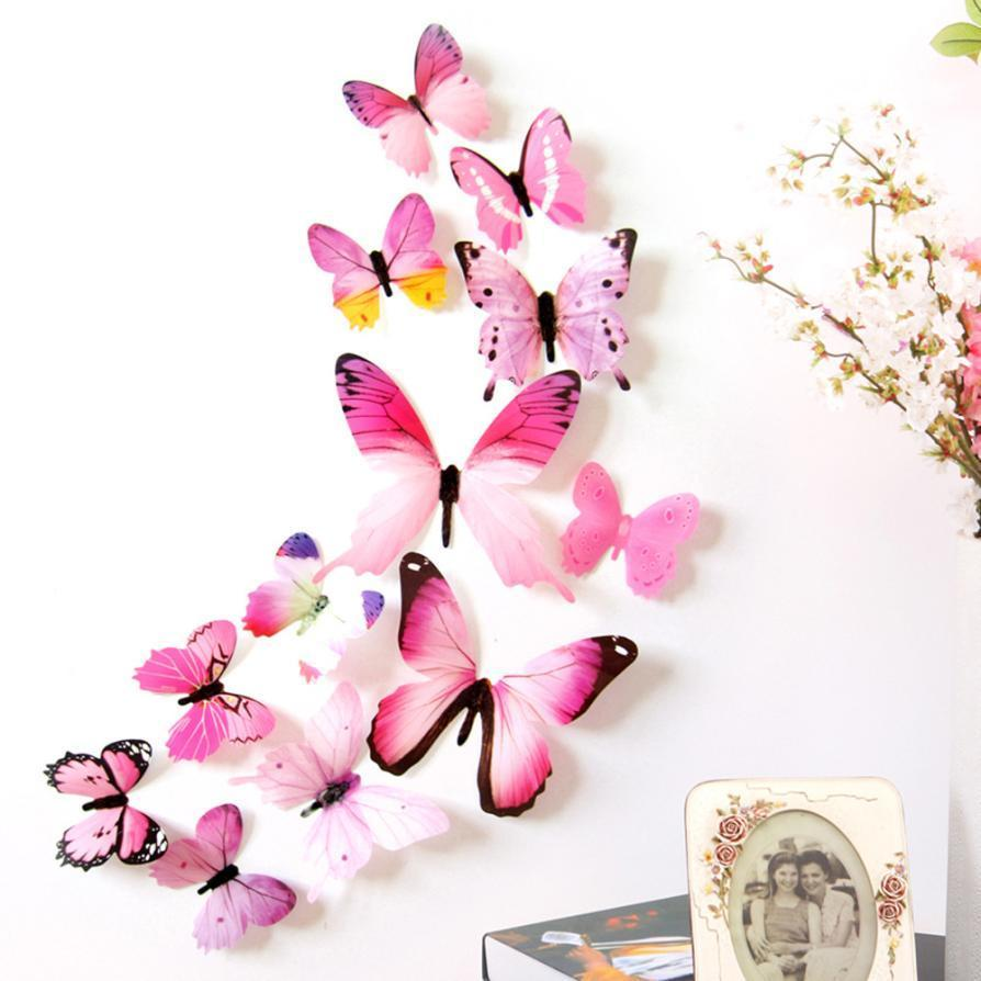 2019 12pcs new wall stickers beautiful fridge magnets Decal Wall Stickers Home Decorations 3D Butterfly Rainbow JA26