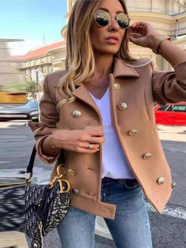 Mulheres Chumbo Ambos Row Botão casaco de lã solta Soild Cor Overcoat Fluffy Quente Casacos Top