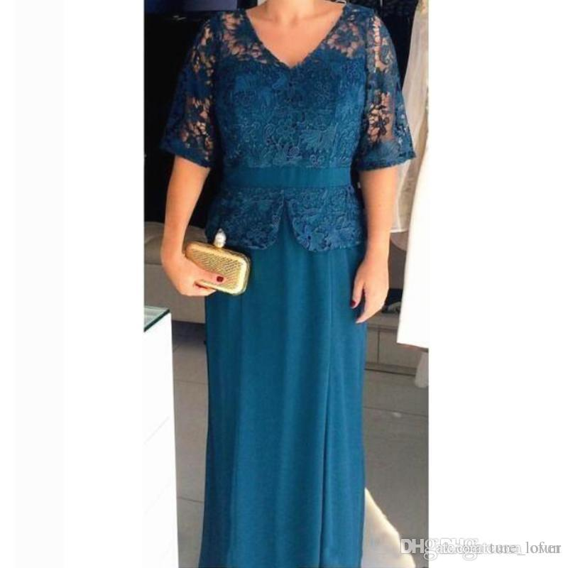 Plus Size Turquoise Mother of the Bride Dress V Neck Half Sleeves Lace Chiffon Mother's Dresses Floor Length Wedding Guest Evening Gowns