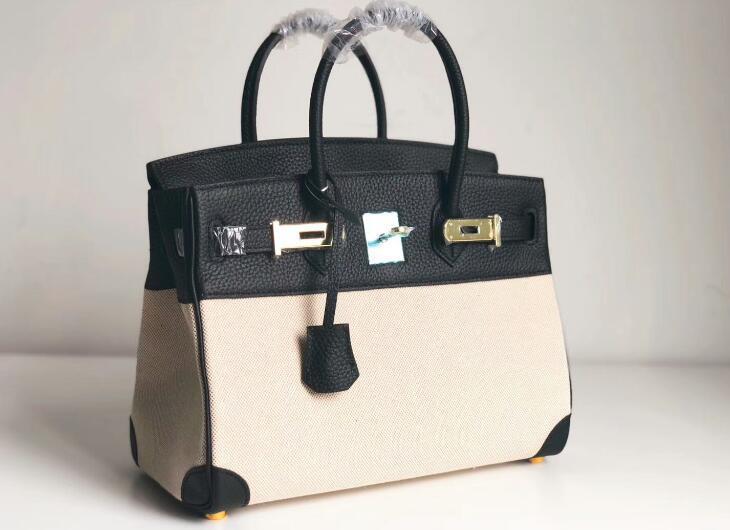 3a качество знаковый Berkin 25-30-35см холст + Taurillon кожаные сумки тотализаторы, поворотный замок закрытия, двойные верхние ручки, приходят с мешком для пыли