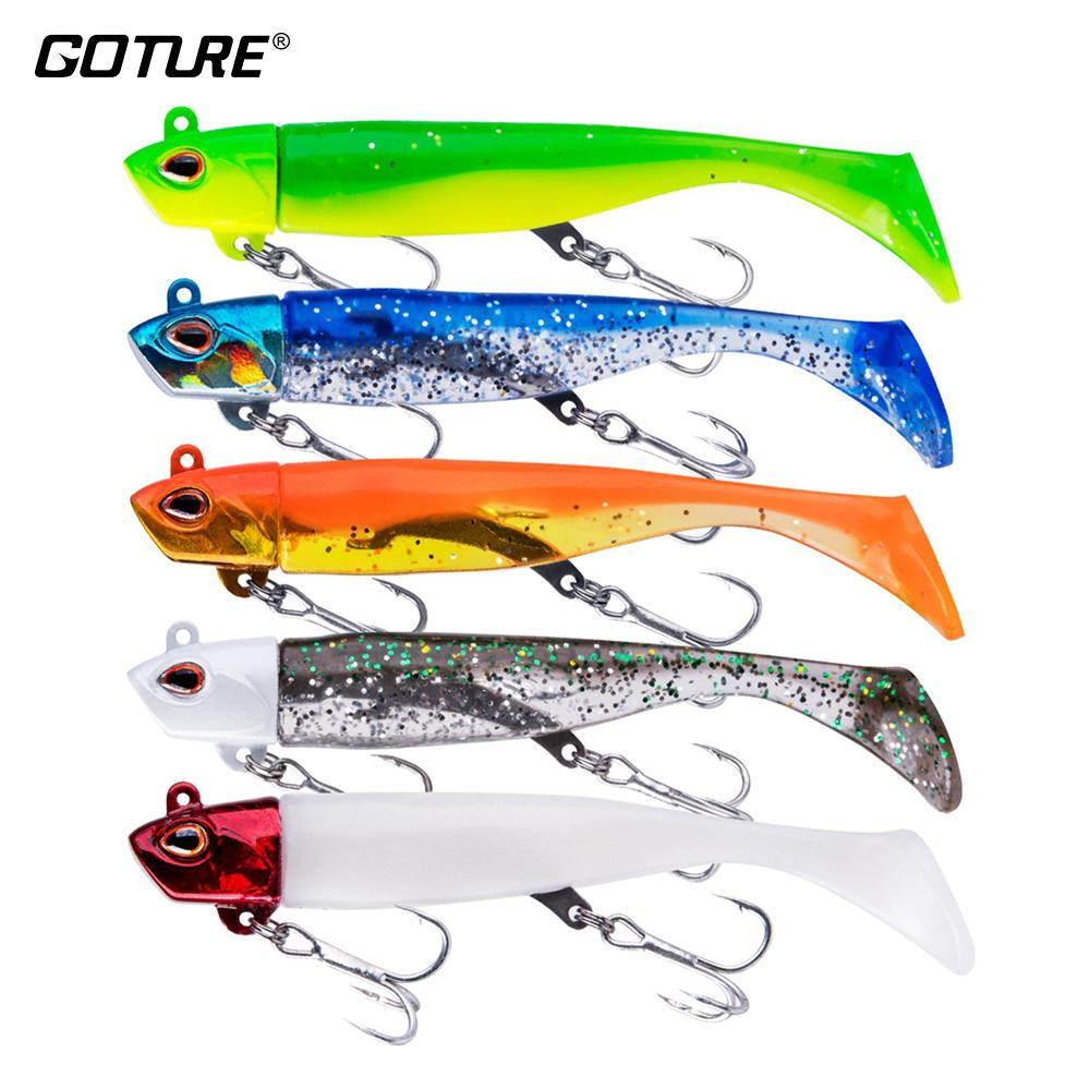 Goture 5pcs/lot Soft Fishing Lure Black Minnow Swimbait Artificial Bait Jig Head Silicone Body Fishing Tackle (1Head + 2 Tail) T200602