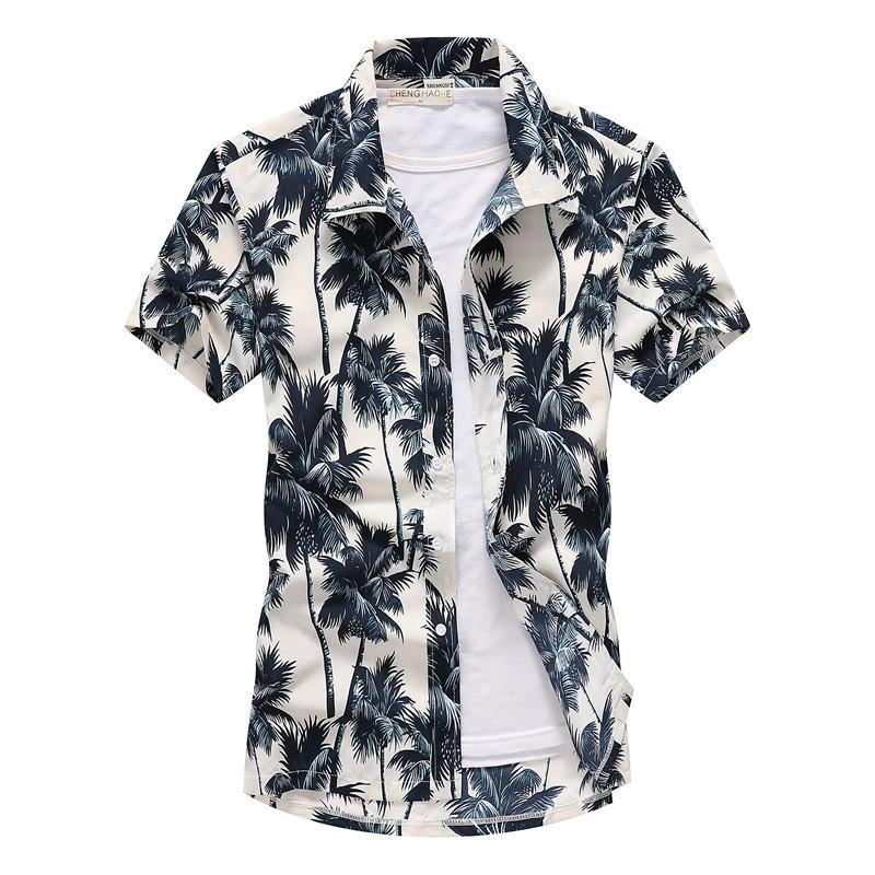 Erkek Çiçek Hawaii Gömlek Moda Yaka Yaka Kısa Kollu Plaj Gömlek Plus Size Hızlı Kurutma Gömlek