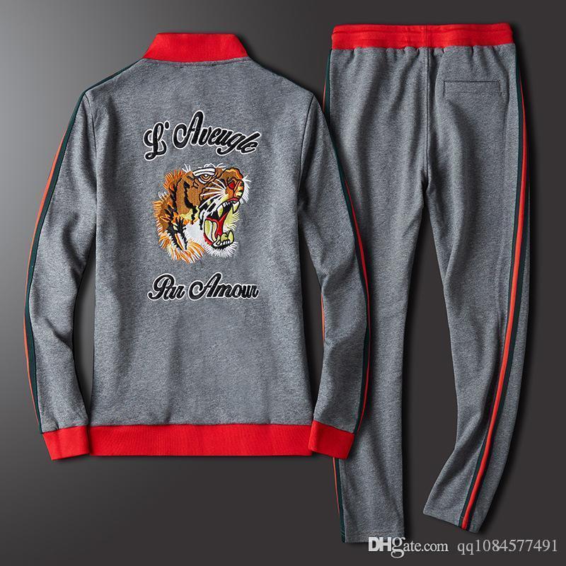 2019 Роскошные спортивные костюмы Jogger Suits Куртки Брюки Мужские дизайнерские спортивные костюмы Tiger Head Sweater Спортивная одежда Фирменные спортивные костюмы