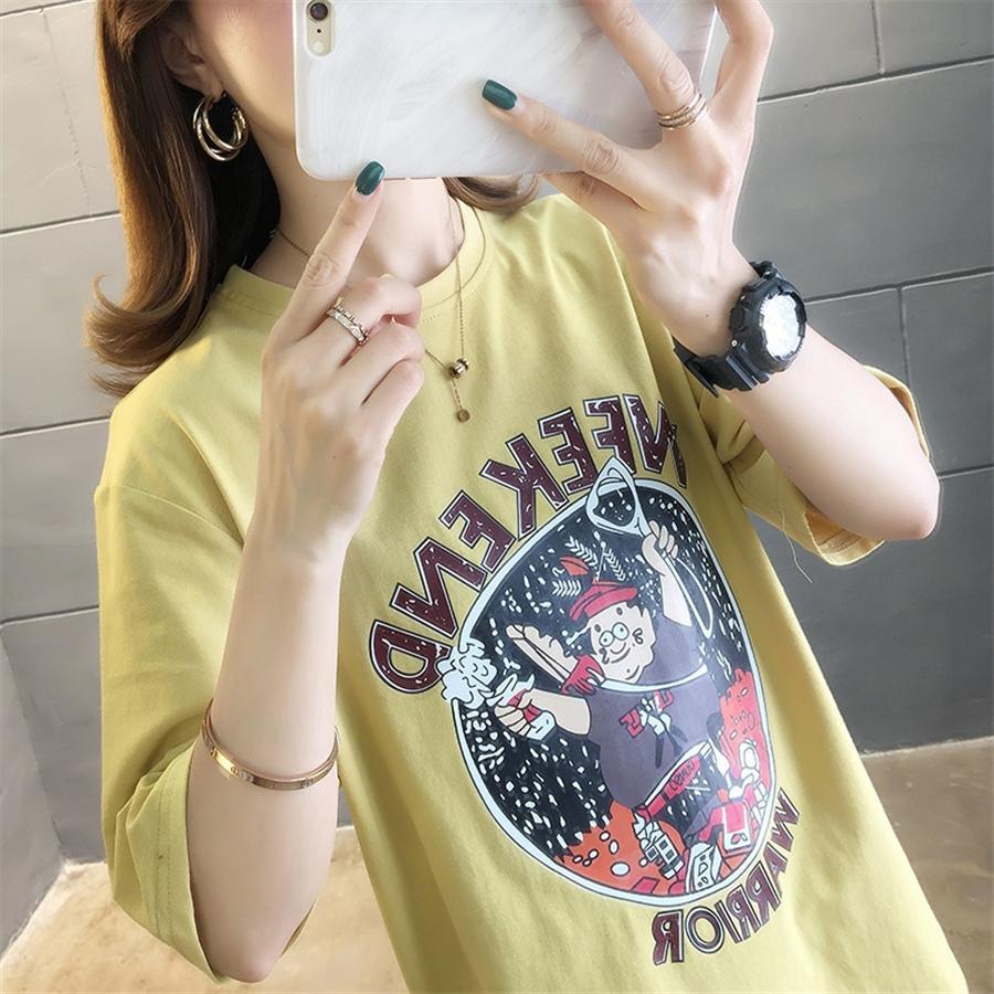 A maniche corte femminili 2020ins moda allentato stile Harajuku strana ragazza tutto-fiammifero della mezza manica a maniche corte T-shirt 2020ins femminili fashiona