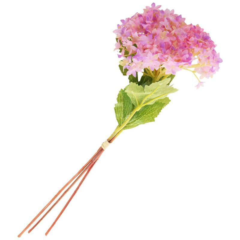 최고의 3PCS 인공 수국 실크 꽃 부케 신부 웨딩 홈 장식 새로운 32cm 핑크