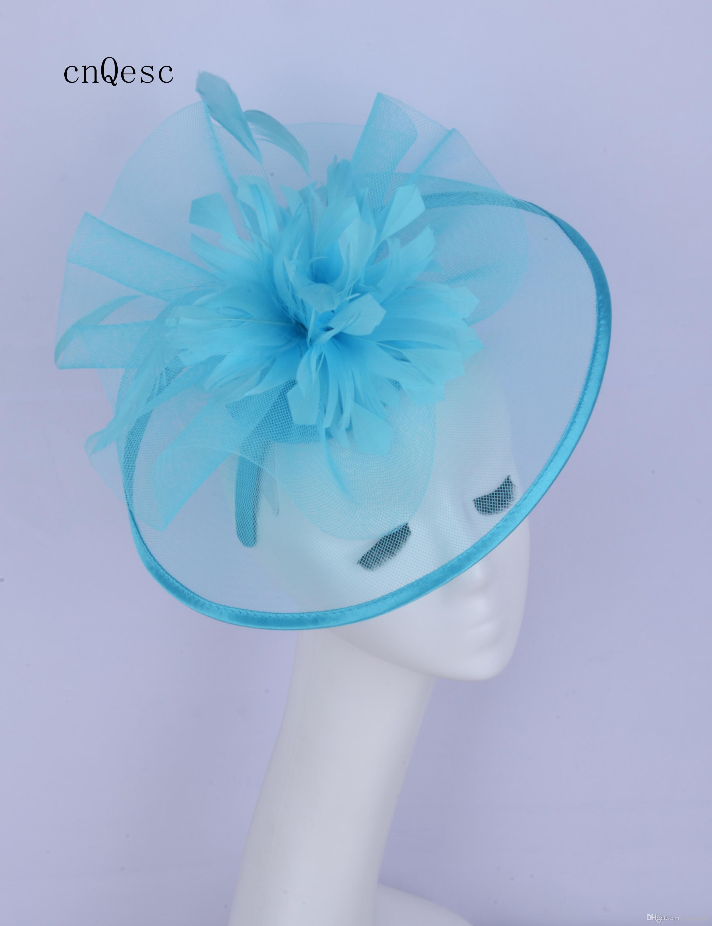 2019 Abito da cerimonia donna blu cielo cappello crin fascinator Kentucky Derby gare di nozze doccia nuziale madre della sposa con fiore di piume