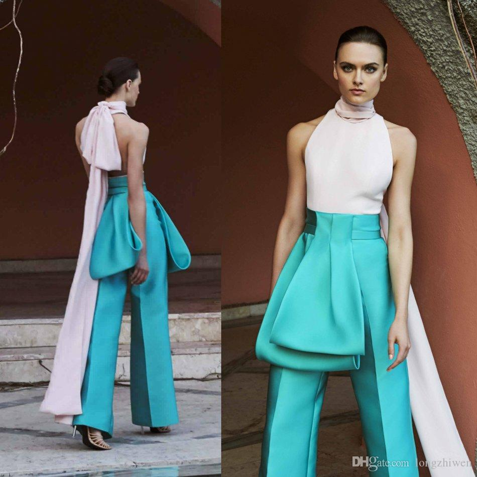2020 Unique Evening Jumpsuit Art Deco Inspired Neck Sleeveless Peplum Backless Satin Party Dress Floor Length Special Occasion Dresses