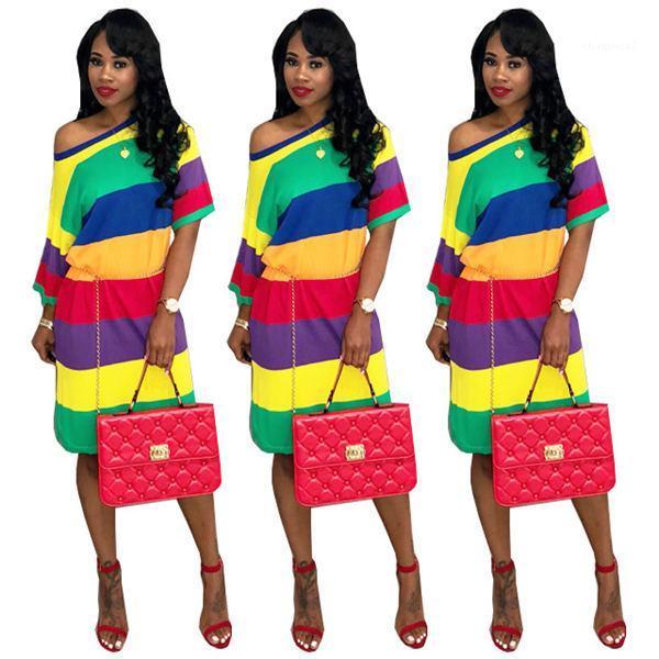 Donna Abito firmato banda dell'arcobaleno Abito Donne Estate femminile shirt manica lunga Dress Plus Size