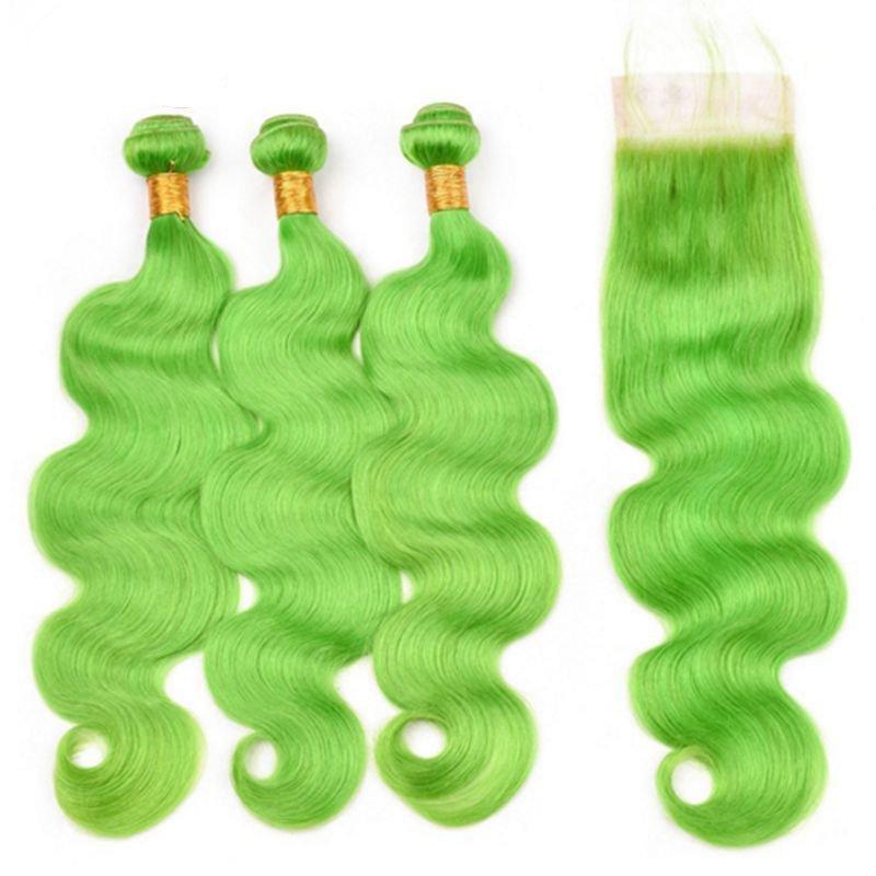 سيلاندا الشعر قبل الملونة الضوء الأخضر الجسم موجة ريمي الشعر البشري لحمة 3 نسج حزم مع 4x4 الدانتيل إغلاق شحن مجاني