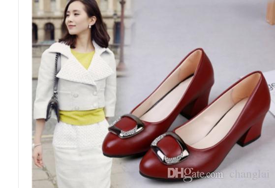 2020 sapatos das mulheres na Primavera e Outono com cabeça redonda Novo estilo salto alto grosso sapatos de salto mãe bowknot @ 6126