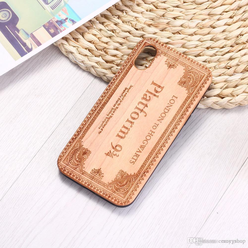 Sihirbazı Büyülü Bilet Oyma Ağaç Telefon Kılıfı Coque Funda iPhone 6 6S 6Plus 7 7Plus 8 8plus XR X XS Max 11 Pro Max samsung s10