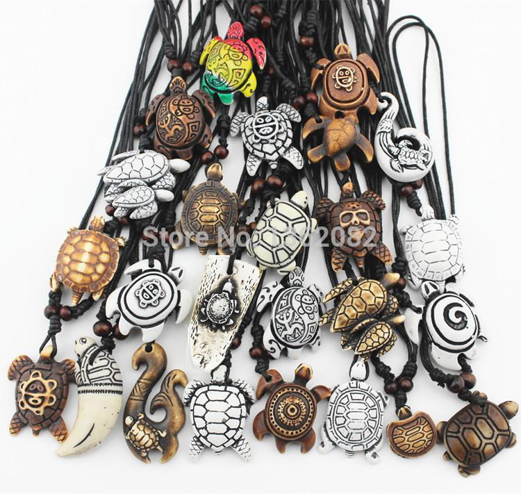 Jewelry & Accessories MIXED Jewelry Wholesale Lots 25PCS Imitation Yak Bone Carved Lucky Surfing Sea Turtles Pendants Necklace MN386