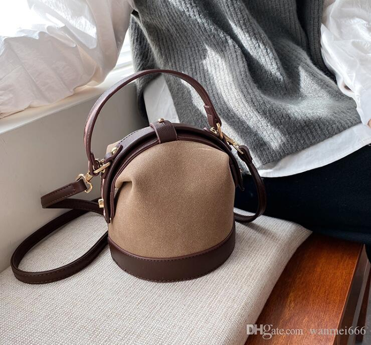 Ретро Hong Kong женщин типа мешок Новый дизайн Мода плеча Сумка Wild Bucket Bag