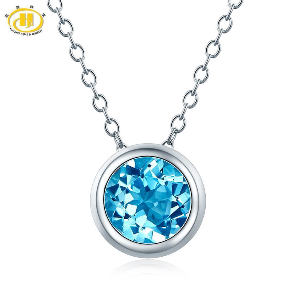 Hutang 1.65ct Mavi Topaz Kadın kolye, Hediye Yeni Solid 925 Gümüş Zincir Doğal Taş İnce Şık Takı