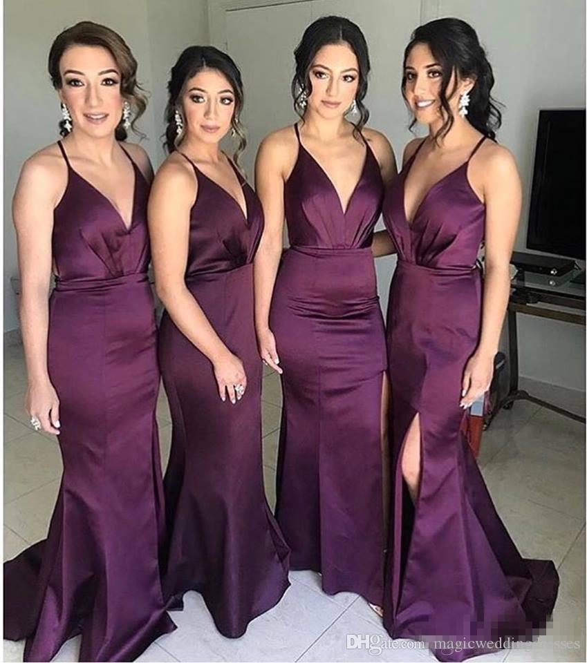 Compre Vestidos De Damas De Honor De Color Morado Oscuro Más Baratos Cuello En V Profundo Vestido De Dama De Honor Vestido De Fiesta De Noche Dividido