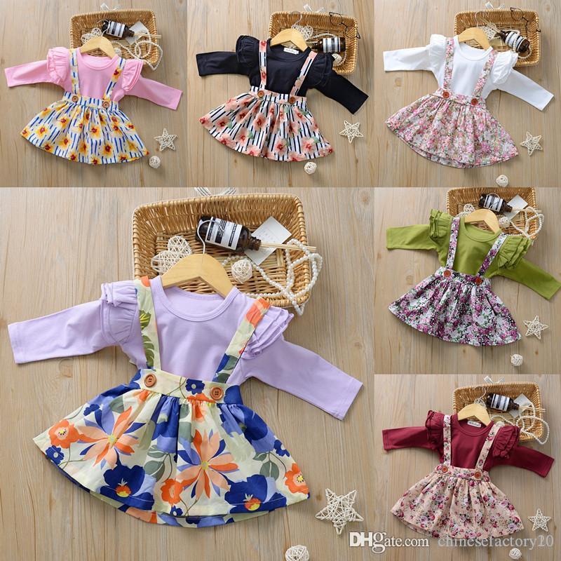 48 ألوان مجموعة ملابس الفتيات الطفل السروال القصير + الحمالة تنورة زهرة مطبوعة 2 PCS الإضافية الخريف الخريف كم طويل رومبير