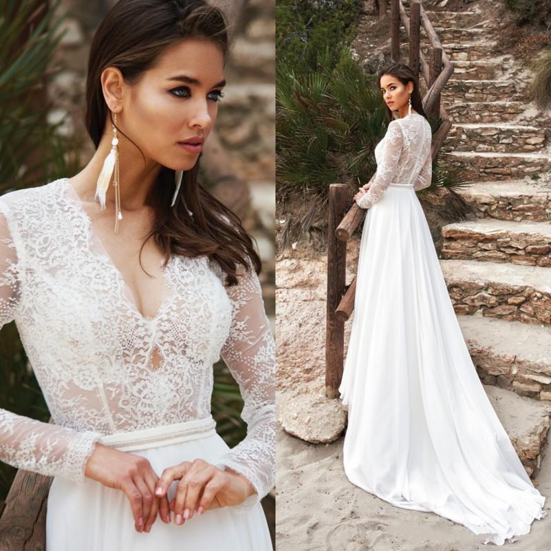 2020 été en mousseline de soie de mariage de plage Robes dentelle Applique col en V Boho Robes de mariée manches longues robe de mariée robes de mariée