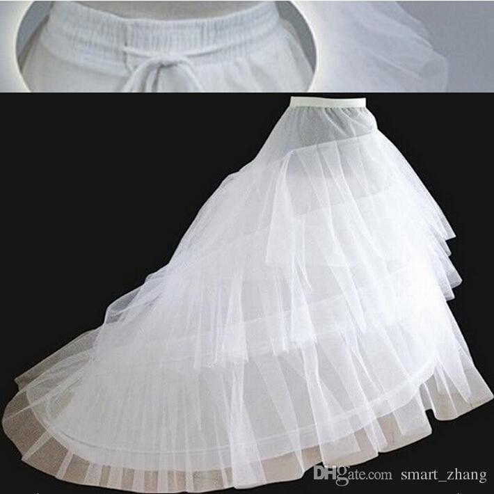 브랜드 새로운 흰색 Tull Petticoat와 기차 3 레이어 2 hoops underskirt 웨딩 액세서리 신부 가운 공식 드레스를위한 크리노린