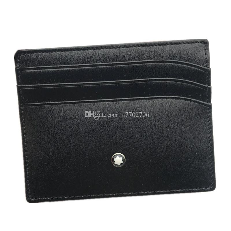 Carte classique noir cuir véritable crédit Porte-monnaie d'affaires de luxe ID Card Case pour l'homme de la mode Porte-monnaie mince sac de poche Slim Portefeuilles