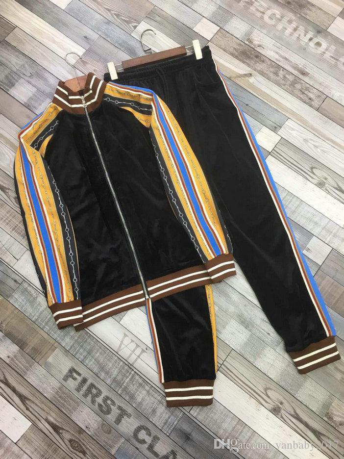 marca 2019 del progettista di sudore tuta uomini di lusso Abiti Autunno Mens di marca tute Jogger Suits Jacket + ansima gli insiemi Sporting cappotto vestito degli uomini