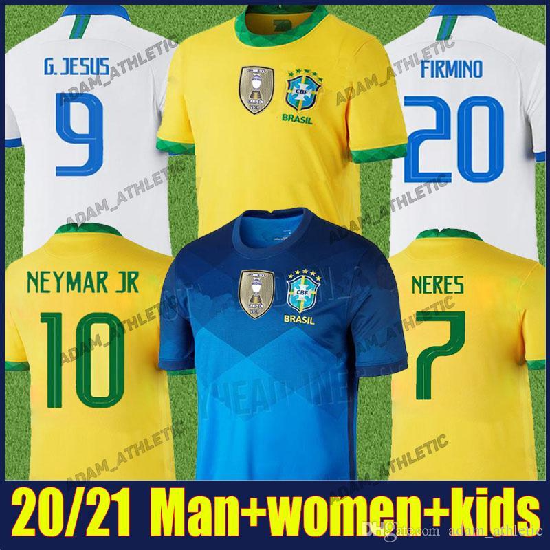 Copa America 2020 Brasilien Fußball-Trikot FIRMINO NEYMAR JR Fußballhemd Kinder Kit P.COUTINHO Casemiro einheitliche camisa Brasil 2020 Feminina