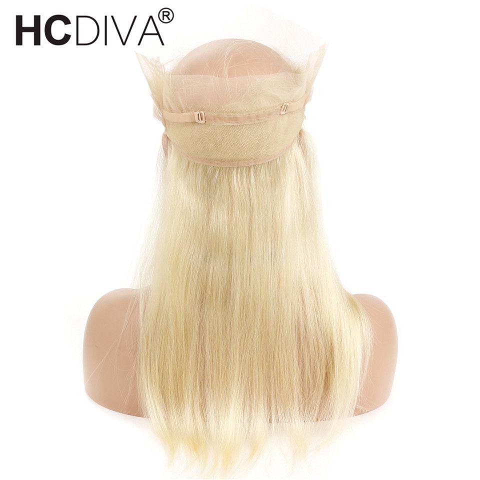 Pre-Plucked 360 레이스 정면 폐쇄 아기 머리카락 페루 레미 스트레이트 인간의 머리카락 613 금발 색 10-20 인치 투명 레이스 정면