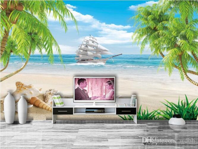 Kundenspezifisches Foto der Tapete 3d Shell Strand Kokosnusspalme Segelnozeanhintergrundwohnzimmer Hauptdekor Wand 3d muals Wandpapier für Wände 3 d