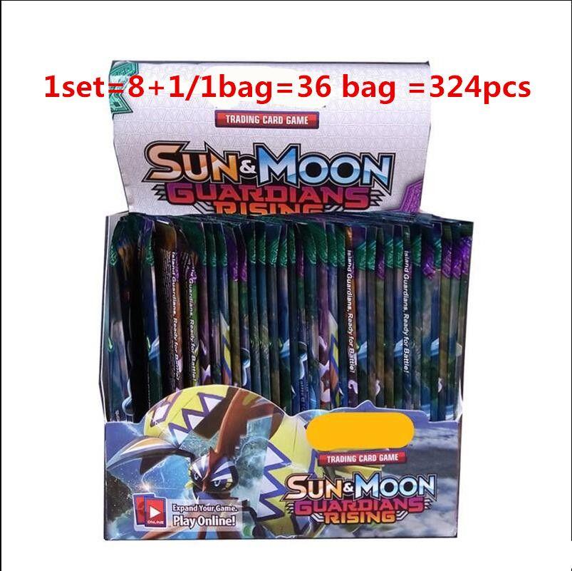 Çocuk Çocuk Anime Çizgi Parti Masa Oyunları Oyuncaklar için 324pcs / set Yeni Poker Ticaret Kartlar Güneş ve Ay Modeli Kart