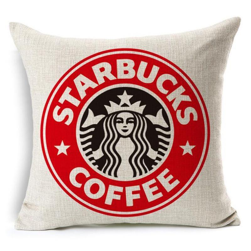 Starbucks Impreso Fundas de cojín almohada Inicio Sofá Throw Pillow caso Textil beddng Juegos de regalo de Navidad