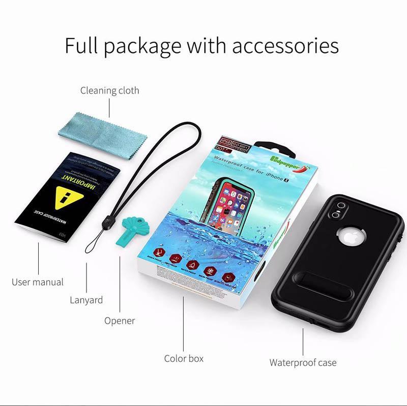 غطاس مقاوم للتراب مقاوم للتراب تحت الماء يغطي (iPhone XS Max XR 8 76S) بالإضافة إلى صندوق البيع بالتجزئة