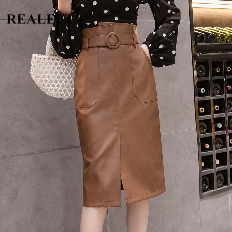 REALEFT Herbst-Winter-Schärpen Frauen PU-Leder-Mantel Midiröcke mit hohen Taille Knie-Länge Wickelröcke mit Tasche Saia Weiblich