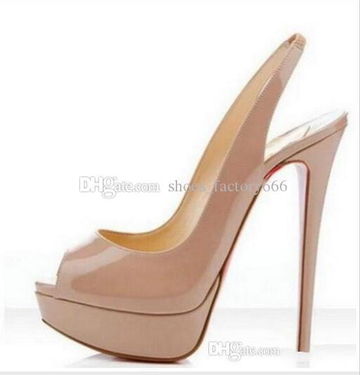 Marque Nude Couleur Bouche De Poisson 14cm Rouge Bas Talons Hauts, Femmes De Luxe Noir En Cuir Verni Plateforme Sandales Peep-Toes, Chaussures En Cuir Brillant