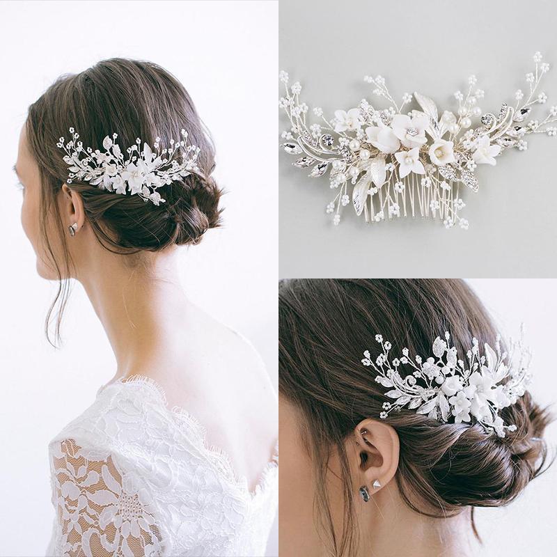 Mode Silber Perlen Haarschmuck handgemachte Kristallhaarkämme Hochzeit Braut-Accessoires Luxus Haarschmuck für Frauen-Partei Y200409