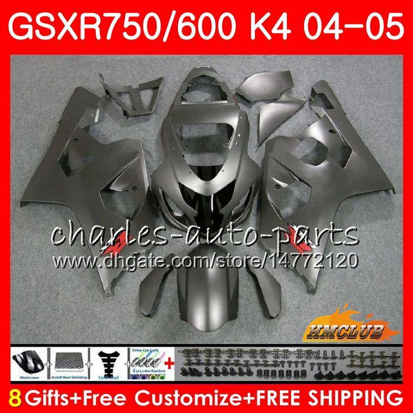 Carrosserie voor Suzuki GSXR 750 GSX R750 GSX-R600 GSXR600 04 05 Matgrijs Hot 7HC.68 GSXR-750 GSXR 600 04 05 K4 GSXR750 2004 2005 Fairing Kit